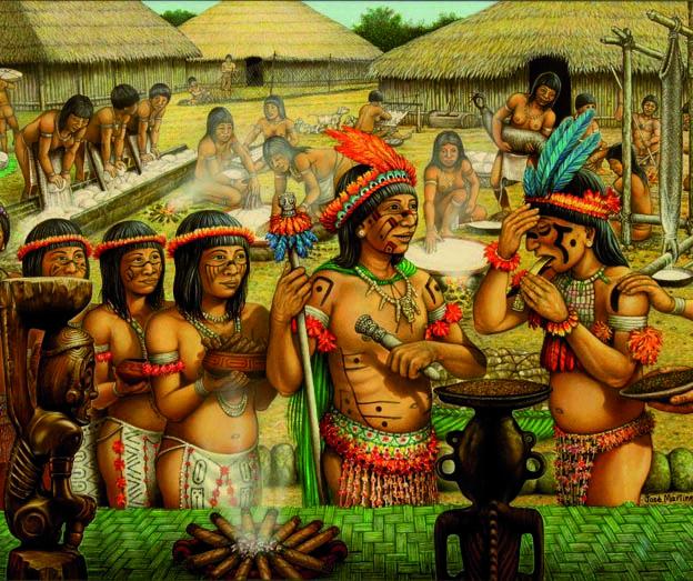 ACADEMIA DEL TABACO Indígenas nativos consumiendo tabaco.