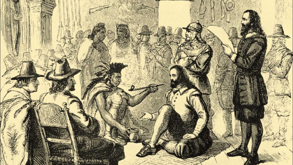 ACADEMIA DEL TABACO Británicos compartiendo una pipa de tabaco con los nativos americanos.